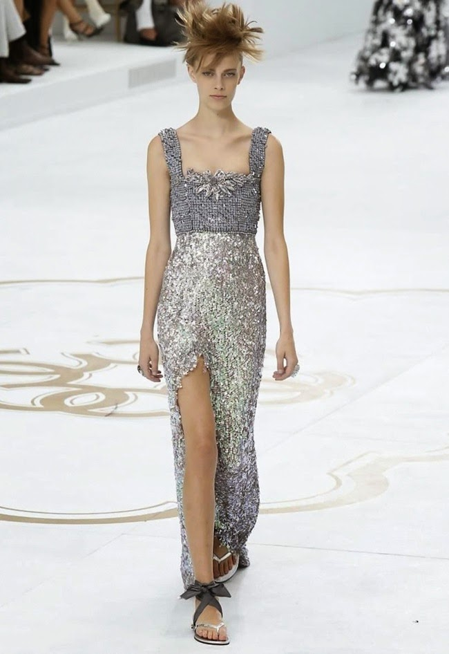 Chanel couture silver sequin dress grown 2015 fall winter