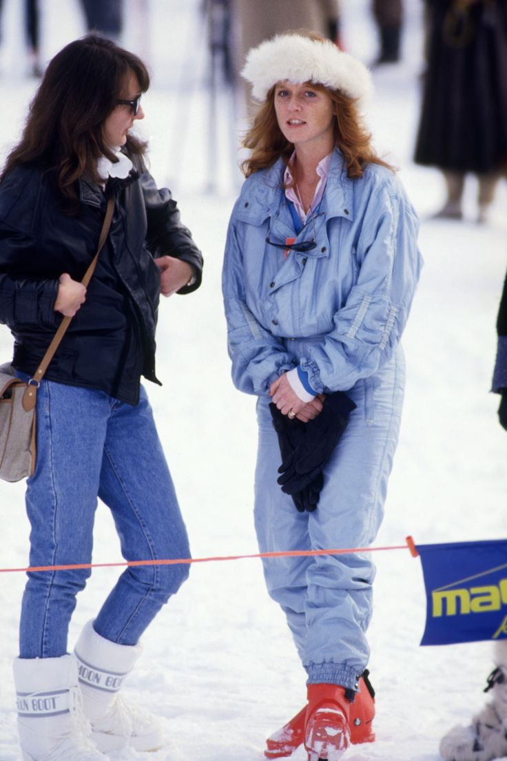 KLOSTERS - FEBRUARY 6: Sarah Ferguson (later Duchess of York) watching a photocall for Prince Charles and Diana Princess of Wales on February 6, 1986 when she joined them on a ski holiday in Klosters, Switzerland (Photo by David Levenson/Getty Images)