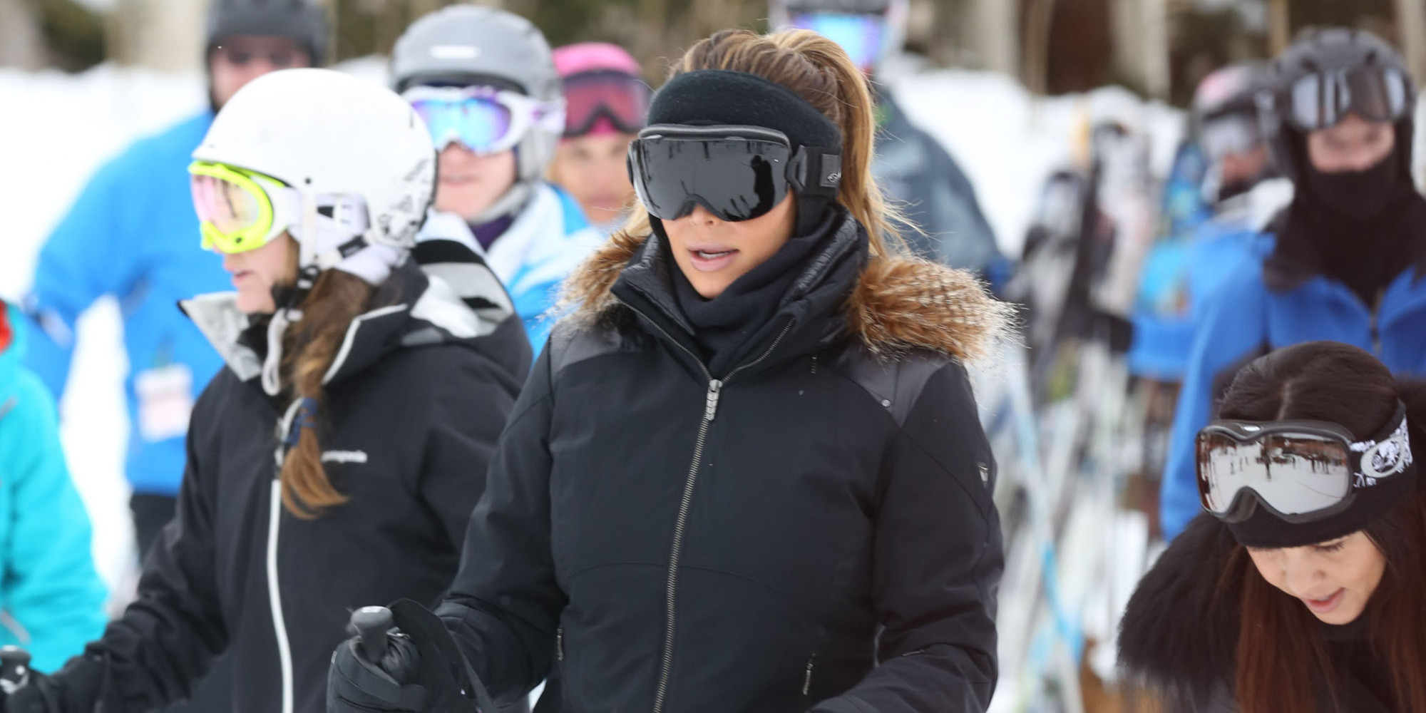 51294511 Reality star and new mom Kim Kardashian hits the slopes with her sister Kourtney and her boyfriend Scott Disick in Deer Valley Park, Utah on December 31, 2013. FameFlynet, Inc - Beverly Hills, CA, USA - +1 (818) 307-4813